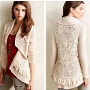 Anthro Knitted & Knotted Crochet Draped Cardigan
